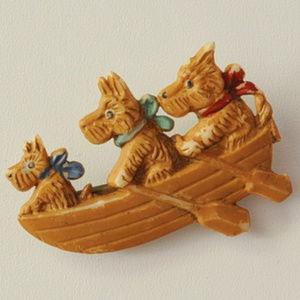 vintage Czech dog boat brooch pin rowboat